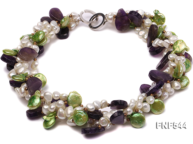 Four-strand White Freshwater Pear, Green Button Pearl and Purple Crystal Beads Necklace big Image 1