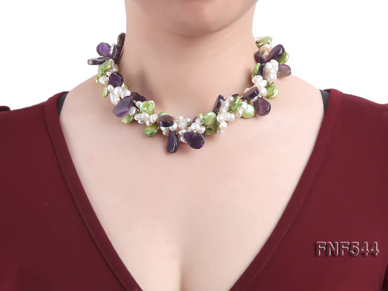Four-strand White Freshwater Pear, Green Button Pearl and Purple Crystal Beads Necklace big Image 2
