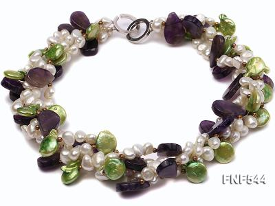 Four-strand White Freshwater Pear, Green Button Pearl and Purple Crystal Beads Necklace FNF544 Image 1