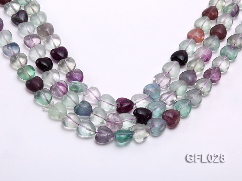 Wholesale 12mm Colorful Heart-shaped Fluorite String big Image 1