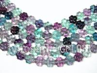 wholesale 15mm flower-shaped fluorite semi-finished products GFL031