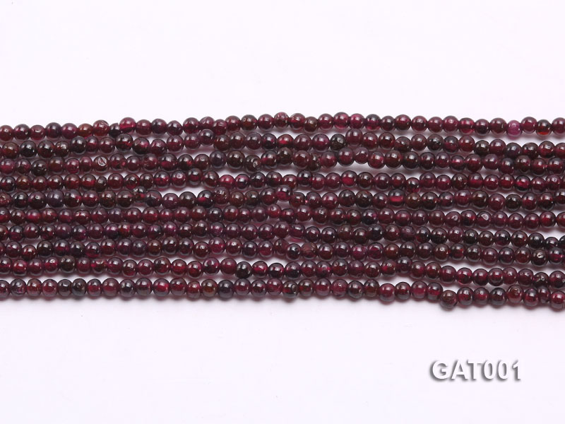 Wholesale 3.5mm Deep Red Round Garnet String big Image 2