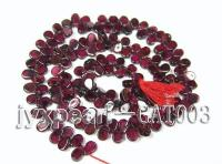 wholesale 4.5x6.5mm flat drop shape dark red garnet strings GAT003