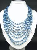 6-10mm blue broken stone with eight-layer  necklace