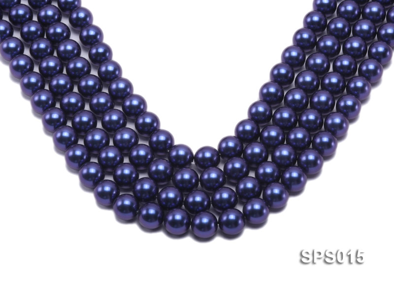 Wholesale 12mm Dark Blue Round Seashell Pearl String big Image 1
