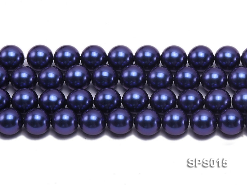 Wholesale 12mm Dark Blue Round Seashell Pearl String big Image 2