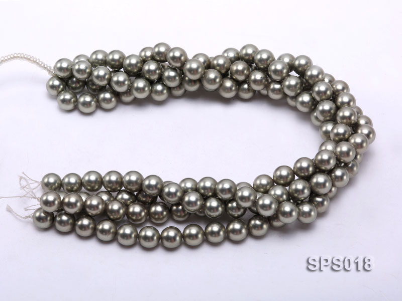 Wholesale 12mm Round Olive Seashell Pearl String big Image 3