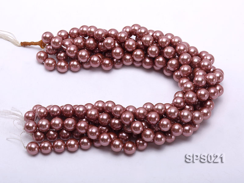 Wholesale 12mm Round Lavender Seashell Pearl String big Image 3