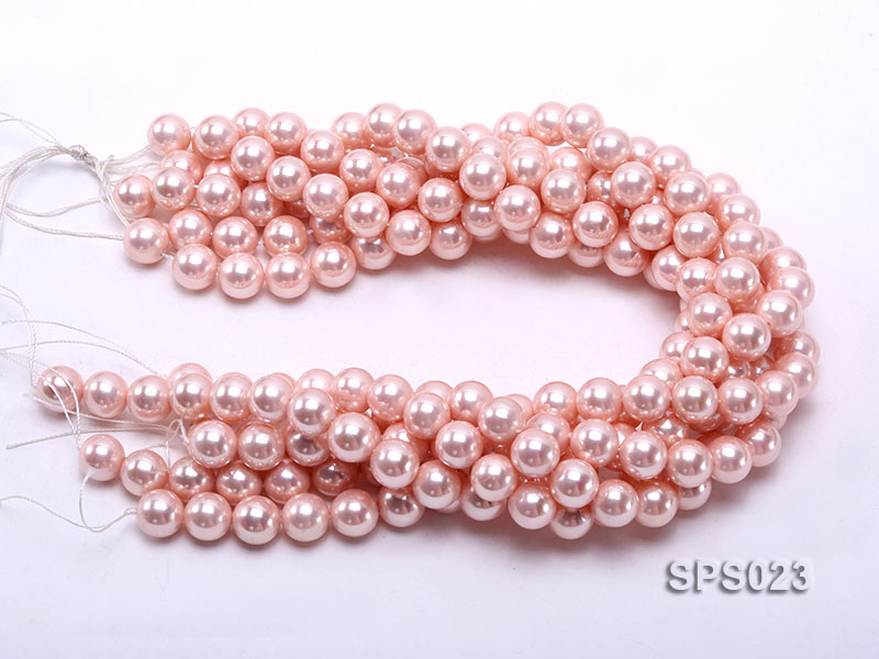 Wholesale 12mm Pink Round Seashell Pearl String big Image 3