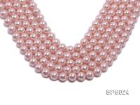 Wholesale 12mm Pink Round Seashell Pearl String SPS024
