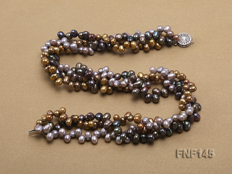 Three-strand 6-7mm Multi-color Cultured Freshwater Pearl Necklace big Image 3