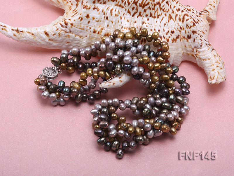 Three-strand 6-7mm Multi-color Cultured Freshwater Pearl Necklace big Image 5