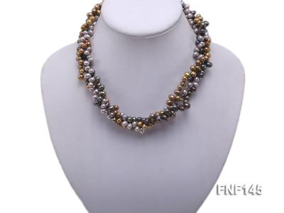 Three-strand 6-7mm Multi-color Cultured Freshwater Pearl Necklace FNF145 Image 2
