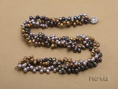 Three-strand 6-7mm Multi-color Cultured Freshwater Pearl Necklace FNF145 Image 3