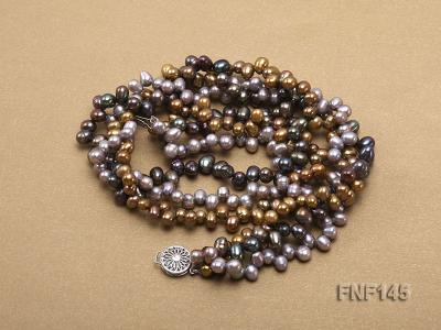 Three-strand 6-7mm Multi-color Cultured Freshwater Pearl Necklace FNF145 Image 4