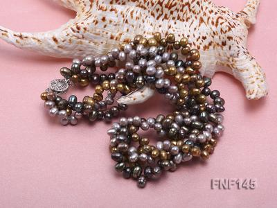 Three-strand 6-7mm Multi-color Cultured Freshwater Pearl Necklace FNF145 Image 5