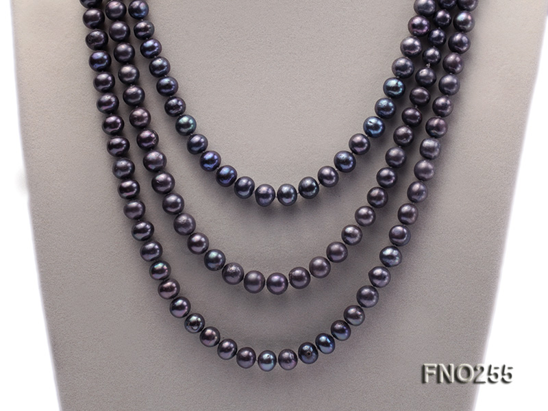 10-10.5mm black round freshwater pearl necklace big Image 2