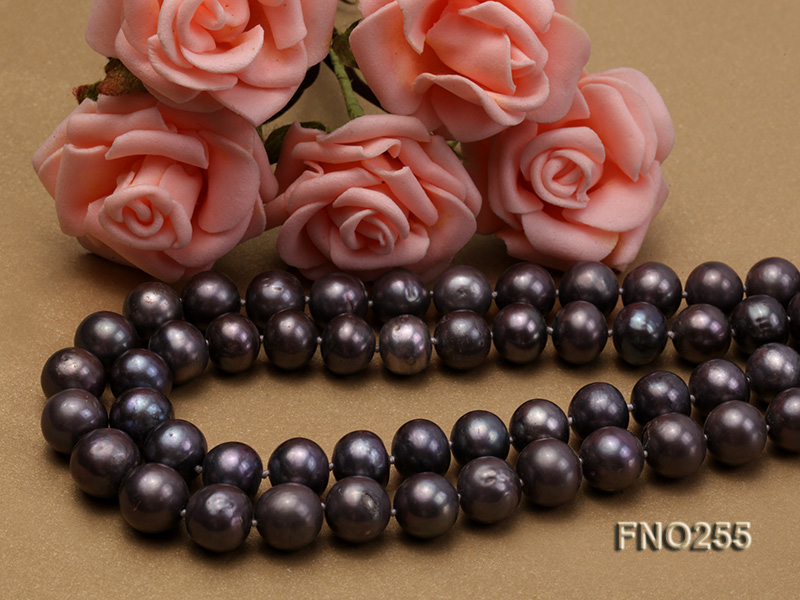 10-10.5mm black round freshwater pearl necklace big Image 4