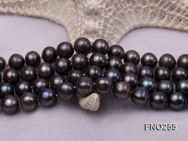 10-10.5mm black round freshwater pearl necklace big Image 5