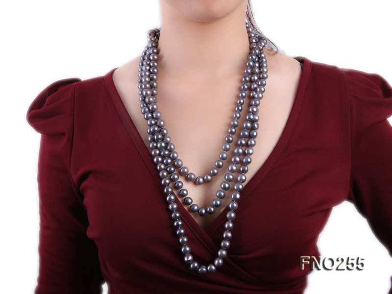 10-10.5mm black round freshwater pearl necklace big Image 7