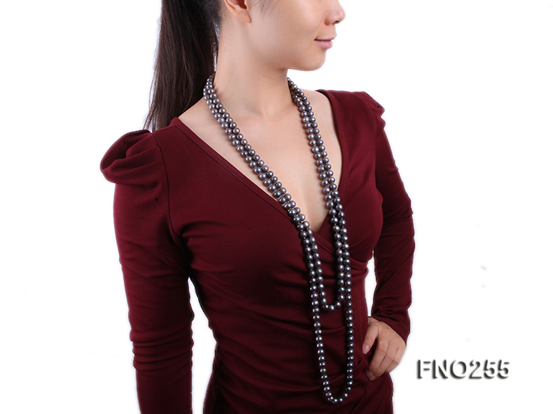 10-10.5mm black round freshwater pearl necklace big Image 8