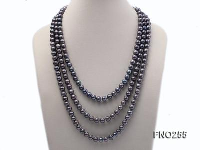 10-10.5mm black round freshwater pearl necklace FNO255 Image 1