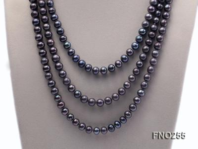 10-10.5mm black round freshwater pearl necklace FNO255 Image 2