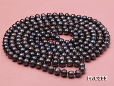 10-10.5mm black round freshwater pearl necklace FNO255 Image 3
