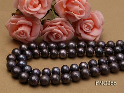 10-10.5mm black round freshwater pearl necklace FNO255 Image 4