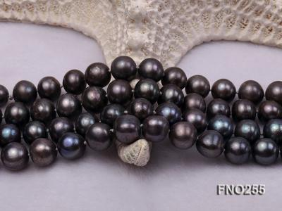 10-10.5mm black round freshwater pearl necklace FNO255 Image 5