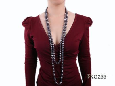 10-10.5mm black round freshwater pearl necklace FNO255 Image 6