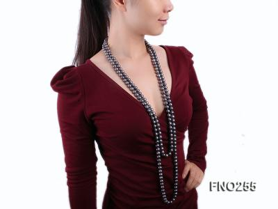 10-10.5mm black round freshwater pearl necklace FNO255 Image 8