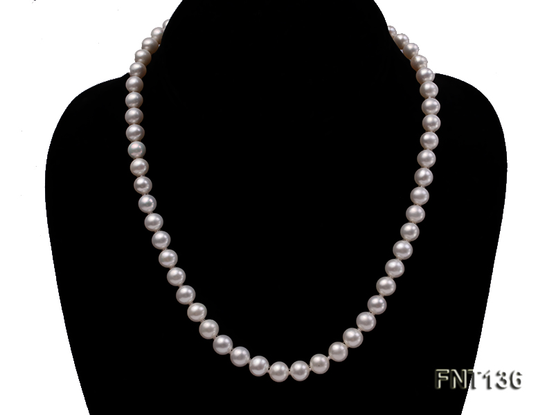 7-7.5mm White Freshwater Pearl Necklace and Bracelet Set big Image 2