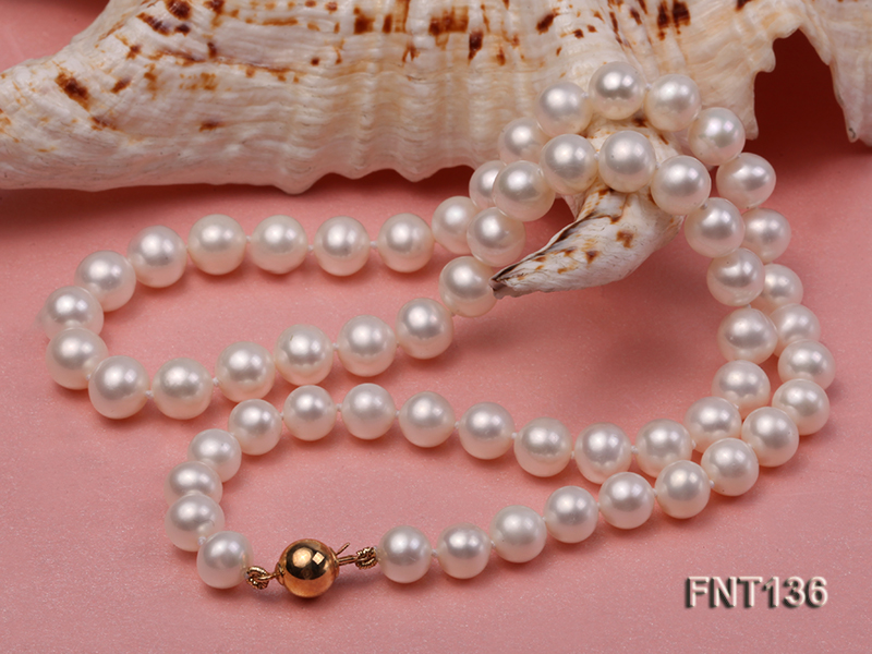 7-7.5mm White Freshwater Pearl Necklace and Bracelet Set big Image 4