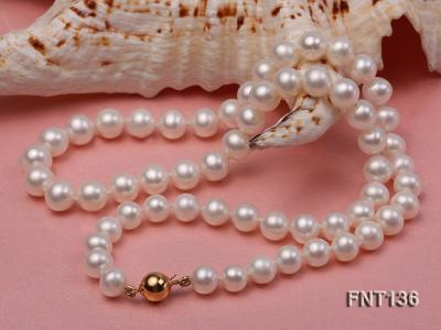 7-7.5mm White Freshwater Pearl Necklace and Bracelet Set FNT136 Image 4
