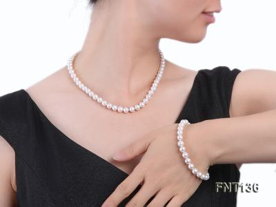 7-7.5mm White Freshwater Pearl Necklace and Bracelet Set FNT136 Image 7
