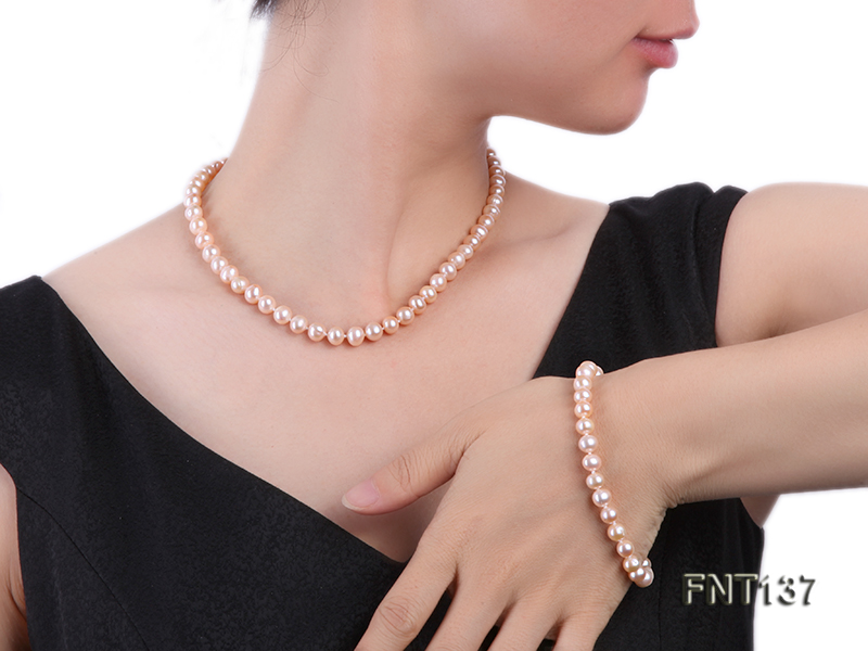 6.5-7.5mm Pink Freshwater Pearl Necklace and Bracelet Set big Image 1