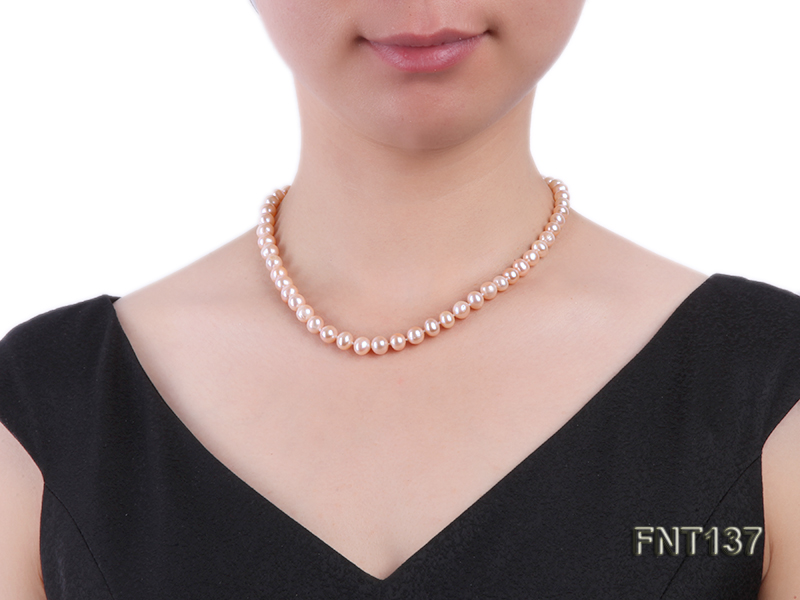 6.5-7.5mm Pink Freshwater Pearl Necklace and Bracelet Set big Image 8