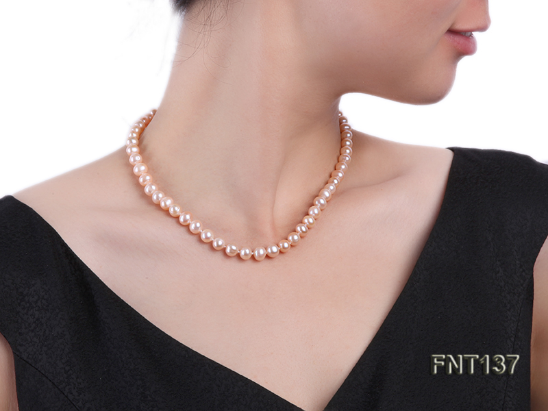 6.5-7.5mm Pink Freshwater Pearl Necklace and Bracelet Set big Image 9