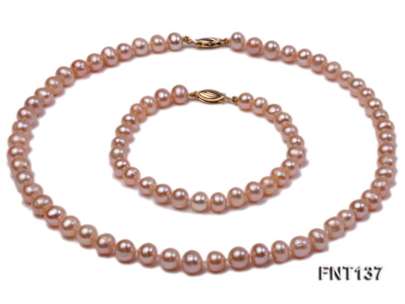 6.5-7.5mm Pink Freshwater Pearl Necklace and Bracelet Set big Image 2
