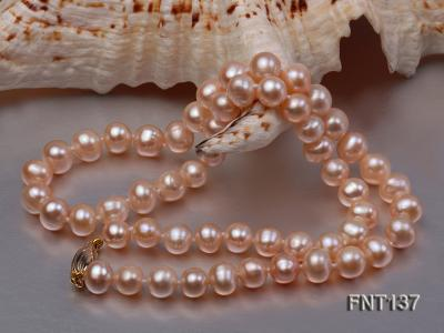 6.5-7.5mm Pink Freshwater Pearl Necklace and Bracelet Set FNT137 Image 4