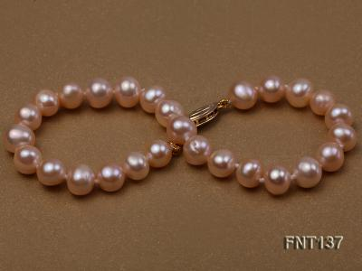 6.5-7.5mm Pink Freshwater Pearl Necklace and Bracelet Set FNT137 Image 7