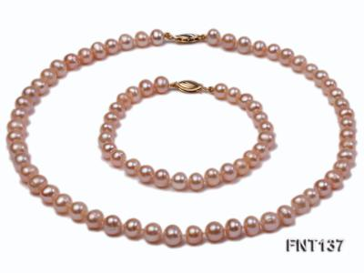6.5-7.5mm Pink Freshwater Pearl Necklace and Bracelet Set FNT137 Image 2