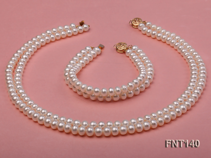 Two-strand 6-7mm White Freshwater Pearl Necklace and Bracelet Set big Image 2