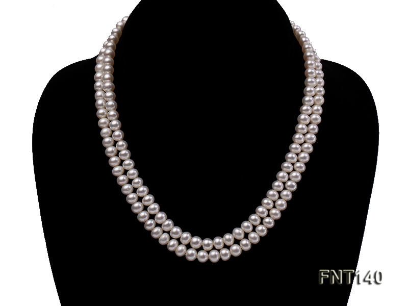 Two-strand 6-7mm White Freshwater Pearl Necklace and Bracelet Set big Image 3
