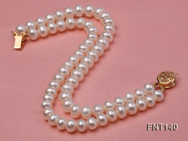 Two-strand 6-7mm White Freshwater Pearl Necklace and Bracelet Set big Image 4
