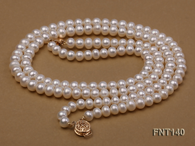 Two-strand 6-7mm White Freshwater Pearl Necklace and Bracelet Set big Image 5