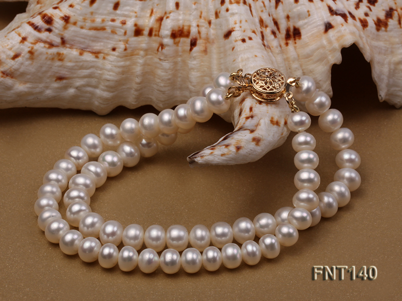 Two-strand 6-7mm White Freshwater Pearl Necklace and Bracelet Set big Image 6