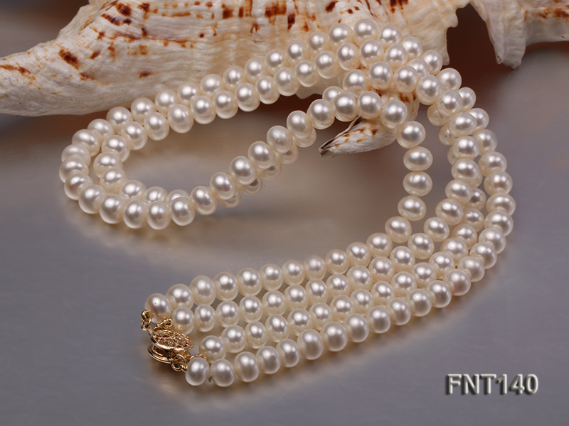 Two-strand 6-7mm White Freshwater Pearl Necklace and Bracelet Set big Image 7