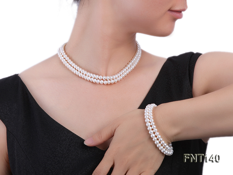 Two-strand 6-7mm White Freshwater Pearl Necklace and Bracelet Set big Image 1